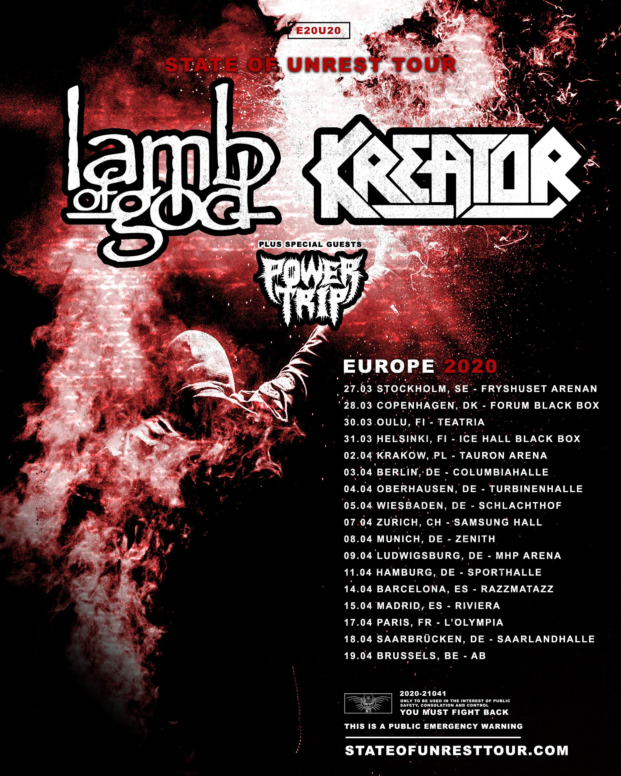 kreator und lamb of god tour 2020